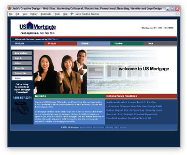 One of over a dozen Private Labeled versions of the WMC Direct website. This one was for U.S. Mortgage and featured a live industry news feed.