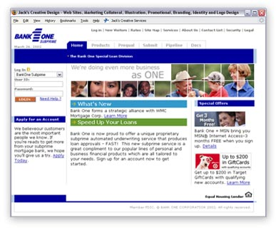 One of over a dozen Private Labeled versions of the WMC Direct website. This one was for BankOne.