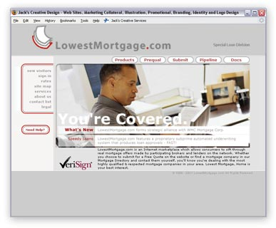 One of over a dozen Private Labeled versions of the WMC Direct website. This one was for LowestMortgage.com. I designed their logo as well.